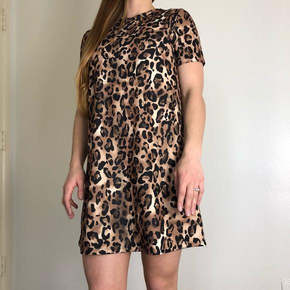 ae150c138646 Zara Tops | Leopard Tshirt Dress | Poshmark